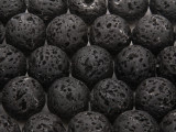 Black Polished Lava Rock Round Beads 16mm (LAV74)