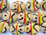 Beige w/Black, Red & Yellow Lampwork Glass Beads 25mm (LW1140)