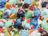Chicken Lampwork Glass Beads 25mm (LW1143)