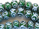 Green w/Baby Blue Swirls Glass Beads 14mm - Large Hole (LW1152)