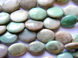 Green Moss Opal Oval Tabular Gemstone Beads 20mm (GS1019)