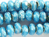 Light Blue w/White Lampwork Glass Beads 14mm - Large Hole (LW1188)
