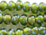 Lime Green w/Blue Polka Dots Lampwork Glass Beads 14mm - Large Hole (LW1191)