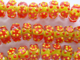 Red & Yellow Lampwork Glass Beads 14mm (LW1206)