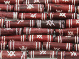 Red/Brown & White Tube Carved Bone Beads 18-21mm (B1052)