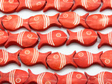 Red Fish Carved Bone Beads 24mm (B1012)