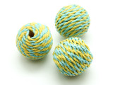 Cotton Wrapped Bead - Yellow & Aqua Blue 25mm (CT108)