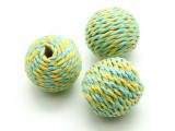 Cotton Wrapped Bead - Yellow & Aqua Blue 25mm (CT108)