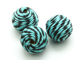 Cotton Wrapped Bead - Aqua Blue & Black 25mm (CT116)