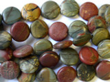Red Creek Jasper Round Tabular Gemstone Beads 14mm (GS1321)