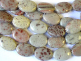 Red Dalmatian Jasper Oval Tabular Gemstone Beads 18mm (GS1274)
