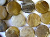 Petrified Wood Round Tabular Gemstone Beads 34mm (GS1276)