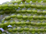 Green Olive Recycled Glass Beads 10mm - Africa (RG64)