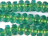 Green w/Turquoise Lampwork Glass Beads 14mm (LW1248)