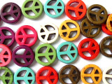 Multi-Color Howlite Peace Sign Gemstone Beads 15mm (GS1332)