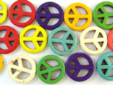 Multi-Color Howlite Peace Sign Beads 25mm (GS1333)