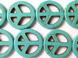 Turquoise Howlite Peace Sign Gemstone Beads 25mm (GS1336)