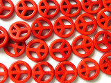 Red Howlite Peace Sign Beads 15mm (GS1345)