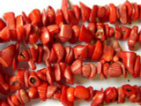 "Red Bamboo Coral Chip Beads 10-15mm - 34"" Strand (CO178)"