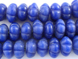 Blue Fluted Glass Beads 23mm (JV130)