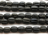 Black Fluted Glass Beads 18mm (JV134)