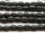 Black Fluted Glass Beads 18mm (JV134)