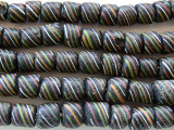 Black w/Stripes Glass Beads 4-8mm (JV287)