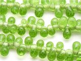 Lime Green Teardrop Glass Beads 10mm (JV190)