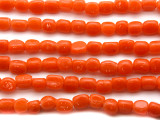 Dark Orange Triangular Glass Beads 5-7mm (JV248)