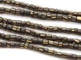 Black w/Stripes Glass Beads 4-6mm (JV301)
