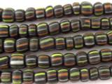 Black w/Stripes Glass Beads 4-6mm (JV309)
