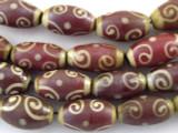 Brown & Beige Swirl Glass Beads 20mm (JV215)