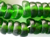 Green Wide Discs Recycled Glass Beads - Indonesia 17mm (RG349)