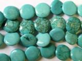 Turquoise Magnesite Round Tabular Beads 15mm (GS1618)