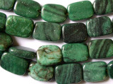 Green, Red Web Jasper Rectangular Tabular Gemstone Beads 17mm (GS1637)