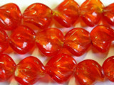 Red Orange Swirl Lampwork Glass Beads 20mm (LW993)