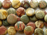Red Creek Jasper Round Tabular Gemstone Beads 14mm (GS1670)