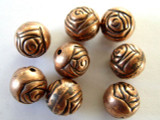 Rosebud, Copper Metalized Plastic Bead 10mm (MP67)