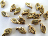 Leaf, Brass Metalized Plastic Bead - Charm 12mm (MP70)