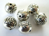 Rosebud, Silver Metalized Plastic Bead 12mm (MP36)