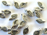 Leaf, Silver Metalized Plastic Bead - Charm 8mm (MP52)