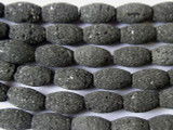 Black Natural Lava Rock Rice Beads 14mm (LAV55)