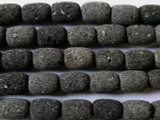 Black Natural Lava Rock Barrel Beads 14mm (LAV57)
