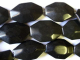 Obsidian Faceted Oval Tabular Beads 35mm (GS1815)