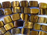 Tiger Eye Rectangular Block Gemstone Beads 12-15mm (GS1733)