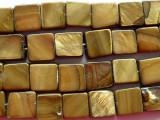 Golden Brown Square Tabular Shell Beads 10mm (SH180)