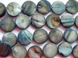 Slate Blue Round Tabular Shell Beads 10mm (SH187)