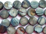 Slate Blue Round Tabular Shell Beads 10mm (SH187)