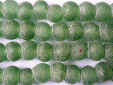 Green Coke Bottle Recycled Glass Beads 14mm - Africa (RG78)