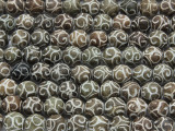 Etched Jade Round Gemstone Beads 10-12mm (GS1962)